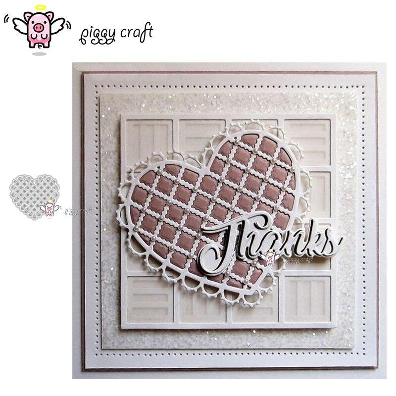 Piggy Craft metal cutting dies cut die mold 2Pcs Lace net Heart frame Scrapbook paper craft knife mould blade punch stencils die-in Cutting Dies from Home & Garden