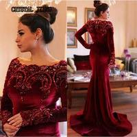Dark Red Burgundy Velvet Eveing Dresses 2017 Long Sleeves Lace Beaded Crystal Mermaid Long Engagement Party