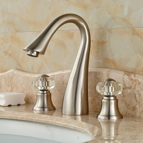 3pcs Bathtub Faucet Waterfall Spout Two Knobs Sink Mixer Tap Brushed Nickel  Finish