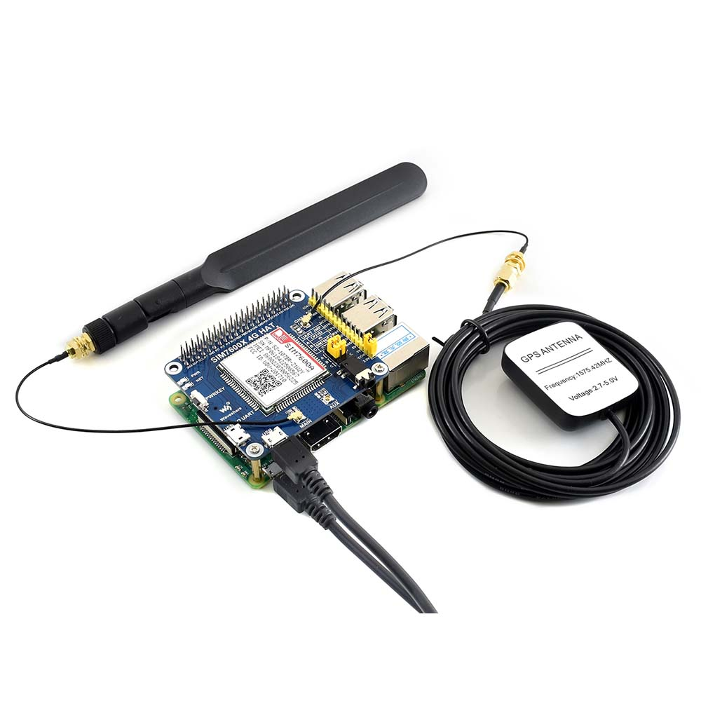 4G / 3G / GNSS HAT For Raspberry Pi Based On SIM7600A-H LTE CAT4 For North America 4G Communication And GNSS Positioning