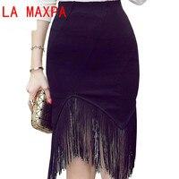 Pencil Skirt High Waist Summer New 2017 Sexy Tassel Patchwork Black Sheath Womens Skirts Plus Size