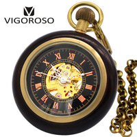 2018 New Antique Retro Design Rosewood Wooden Case Mechanical Pocket Watch Roman Number Dial Skeleton With