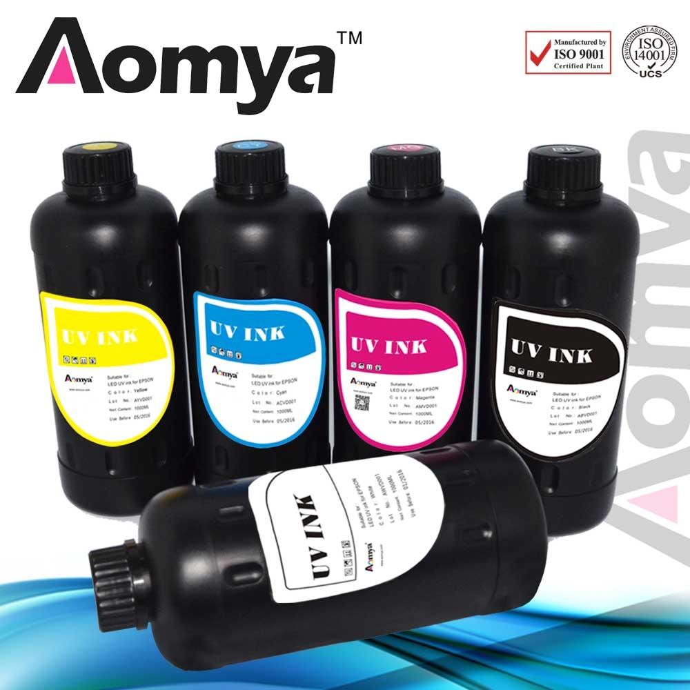 6x1000ml Aomya UV-Tinte Spezialisierte LED-aushärtbare Tinte für Epson DX5 XP600 XP800 Druckkopf-Flachbettdrucker für weiches Material