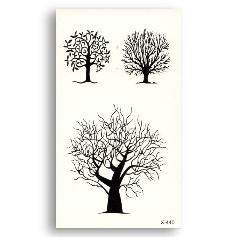 Fake temporary tattoo Water Transfer Black Lines Tree pattern Stickers Beauty disposable Body Art Makeup Live of Song X440