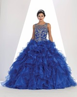 Luxury Beading Wedding Dresses Ruffles Ball Gown Bridal Dresses Lace Up Royal Blue Wedding Gowns Robe