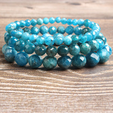 LanLi 4/6/8/10mm fashion natural Jewelry faceted apatite stone beads Bracelet DIY Charms Men Strand Beads Yoga Women Bracelets