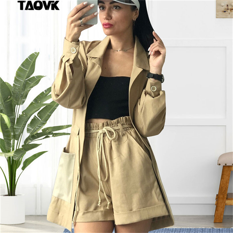 TAOVK Summer Shorts Suit Female 2 Pieces Set For Women Waisted Rope Blazer Jacket & Elastic Waist Short Pant Suits