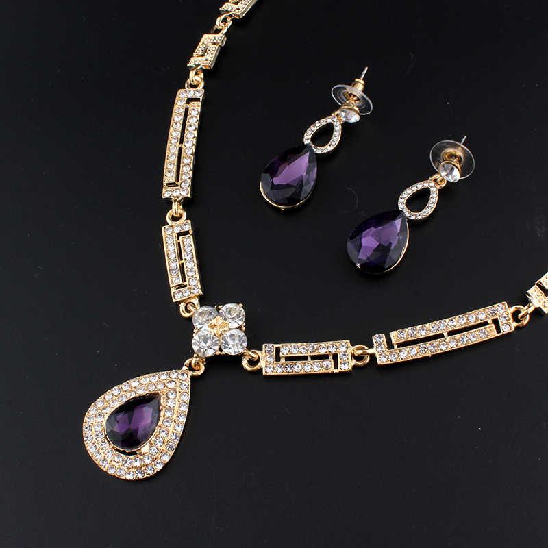 Jiayijiaduo Gaun Pernikahan Perhiasan Set Kaca Ungu Pesona Kristal Kalung Anting-Anting Set untuk Wanita Parvis Bijoux Femme Dubai
