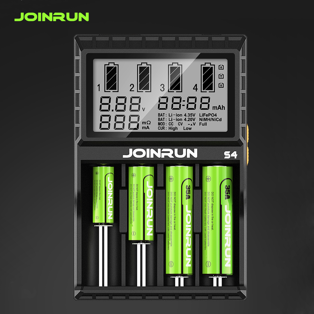 Joinrun S4/N2 Plus 18650 Li-ion Battery charger Smart 18650 Battery Charger for Li-ion/Ni-MH/Ni-CD 18650 14500 16340 AA AAA dc 12v 2a black battery analyzer tester charger li ion aa aaa 18650 ni mh intelligent volt voltage monitoring