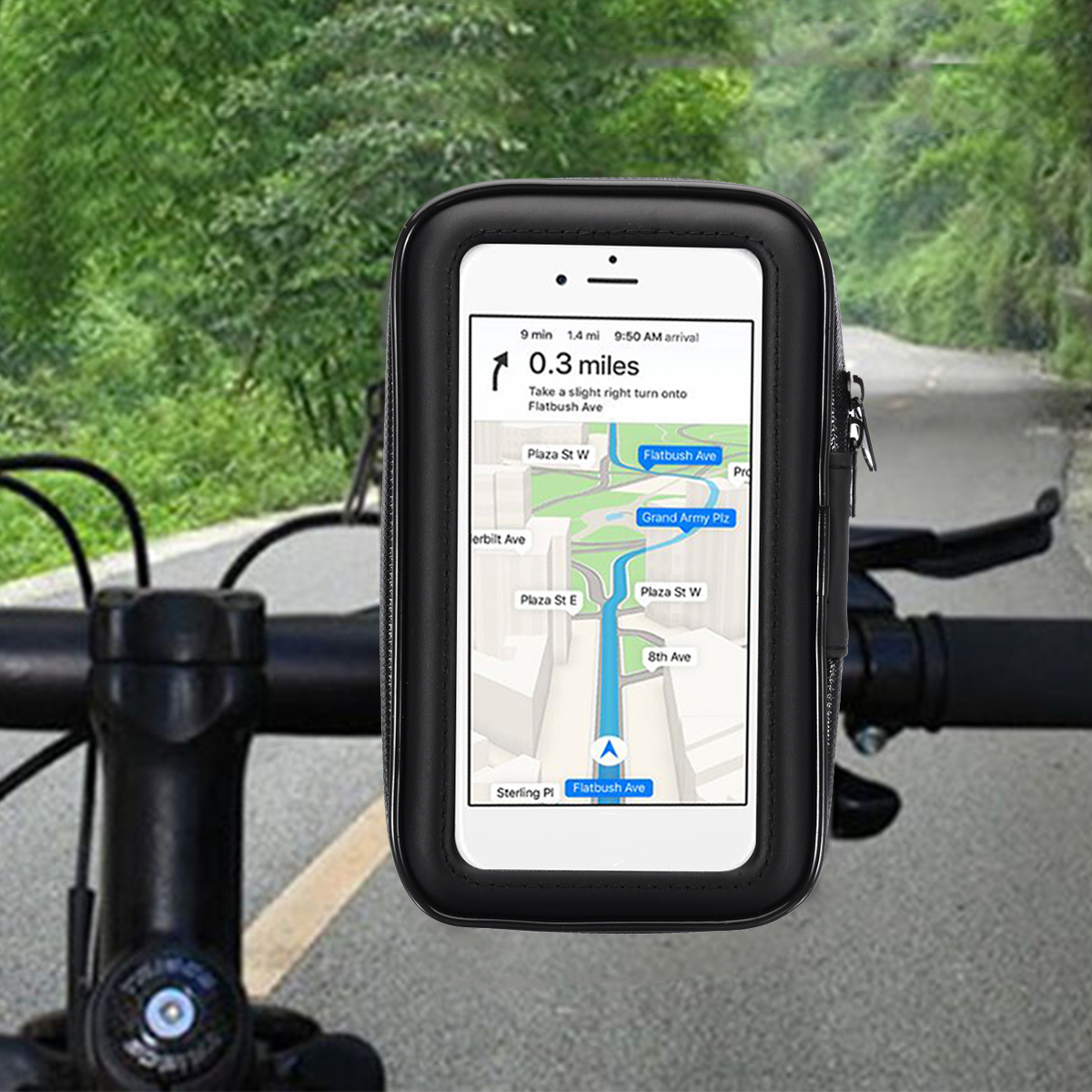 "Image 2 - 1PC Motorcycle Bike Bicycle Waterproof Phone GPS Case Bag Handlebar Mount Holder 15 x 8.5 x 2.5cm For Mobile Phones Without 5.5""-in GPS Stand from Automobiles & Motorcycles"