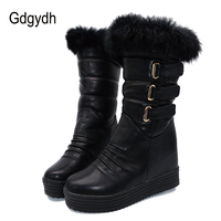 Gdgydh Good Quality Winter Women Snow Boots Warm Fur Ladies Shoes Platform Black Fashion Buckle Real