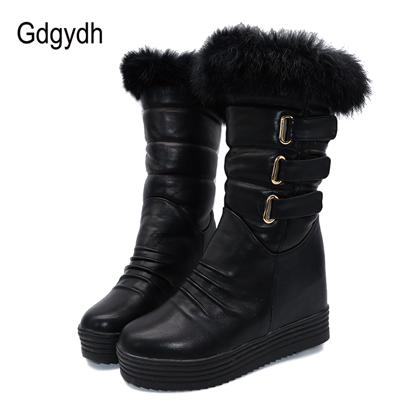 Gdgydh Good Quality Winter Women Snow Boots Warm Fur Ladies Shoes Platform Black Fashion Buckle Real Fur Brand Boots Plus Size