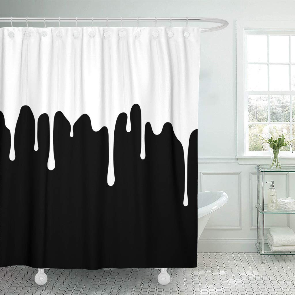 Us 17 23 31 Off Fabric Shower Curtain With Hooks Red Drip White Paint Dripping Abstract Blob Black Drop Oil Water Flow Smear Splatter In Shower