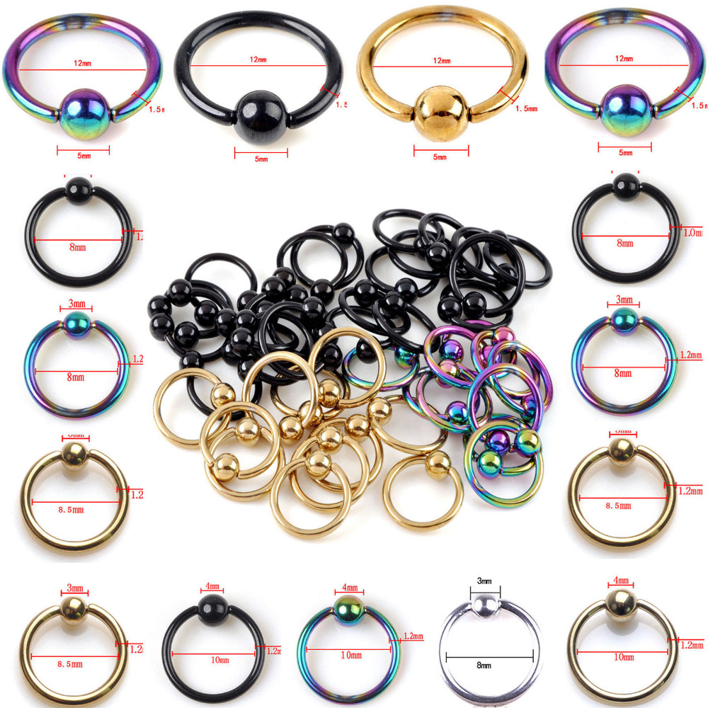 1PCS Stainless Captive Hoop Bead Rings BCR Eyebrow Tragus Nose Nipple Ring Bar Lips Body  CBR Piercing Jewelry bead