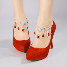 New Red Lluxury Rhinestone Ankle Strap Party/Wedding shoes Fashion women high heel Pumps bride Wedding shoes