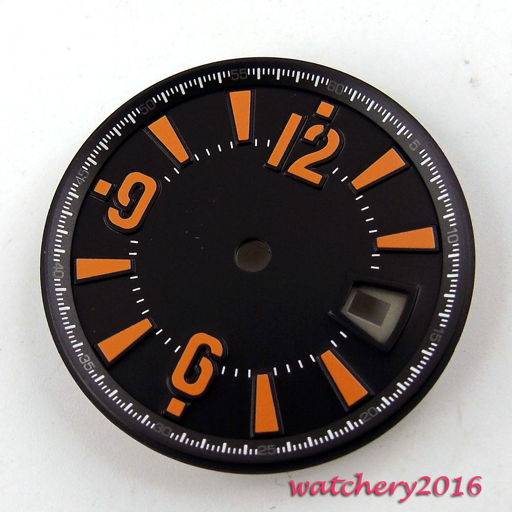 New 31.5mm black dial orange markers date window fit ETA 2836 Mingzhu 2813 4813 movement Mens Watch dial