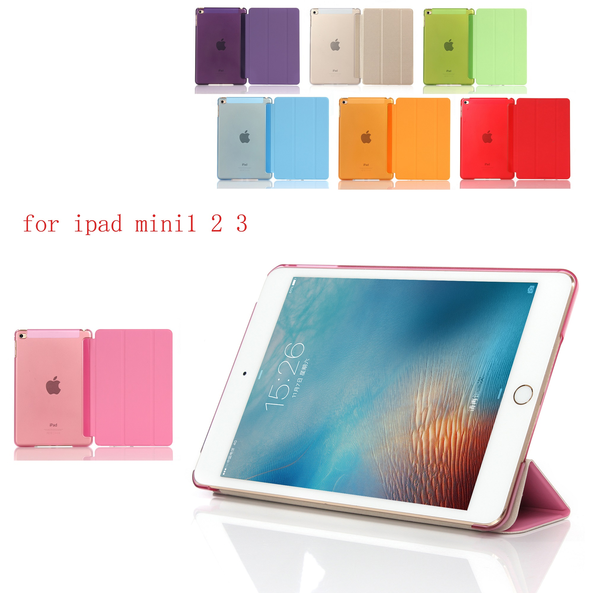 New PC Leather Case for Apple iPad Mini 1 2 3 Fashion Smart Cover + translucent back Mini1