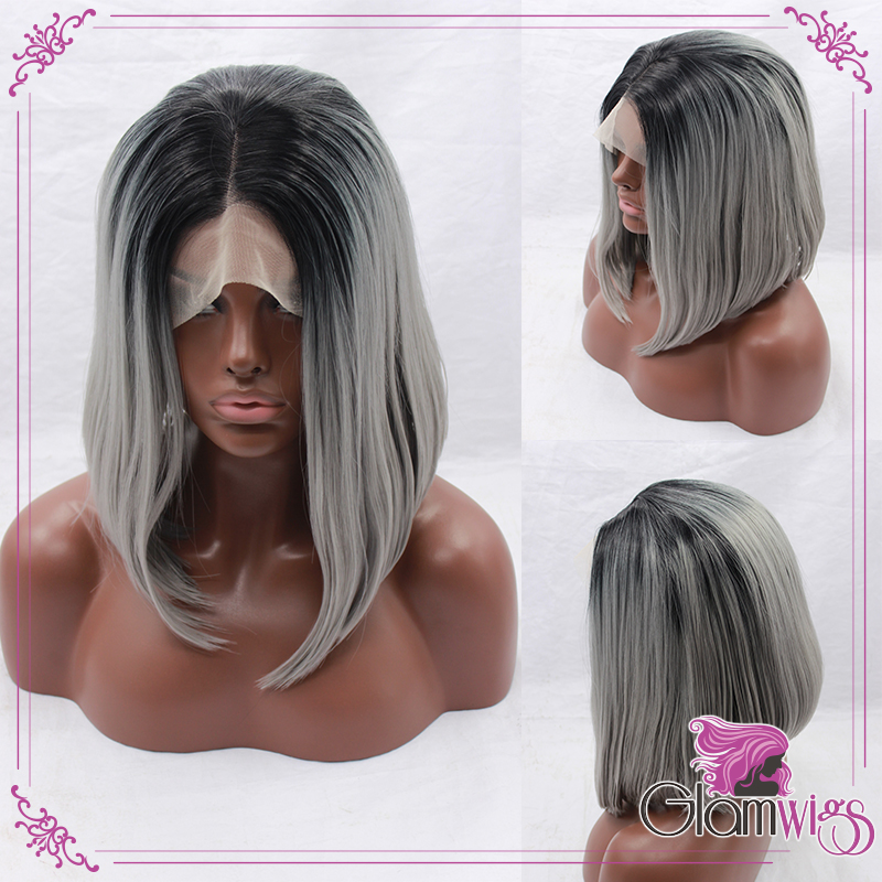 Straight Gray Ombre Synthetic Lace Front Wig Glueless Ombre  Black to Silver Grey Short Bob Heat Resistant Hair Wigs For Women free shipping xc3020 70pg84m new original and goods in stock