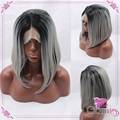 Straight Gray Ombre Synthetic Lace Front Wig Glueless Ombre  Black to Silver Grey Short Bob Heat Resistant Hair Wigs For Women