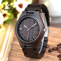 BOBO BIRD L I22 Black Men Ebony Wood Watches in Quartz Movement Vintage Watch Men Drop Shipping