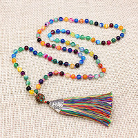 Exclusive High End 6MM Mixed Natural Colorful Agate Long Tassel Beads Necklace Luxury Handmade Beaded Bohemia