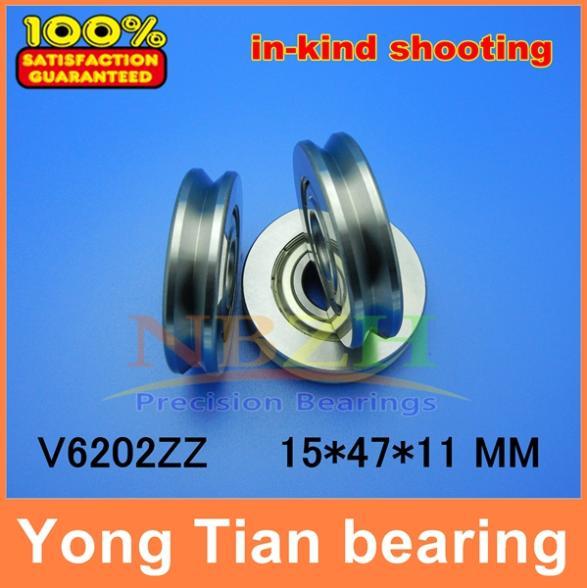 Outer ring V grooved straightener guide wheel bearings A1500ZZ V6202ZZ V90 15*47*11 mm pulley bearings V groove width 6 mm v sport ftx 6202