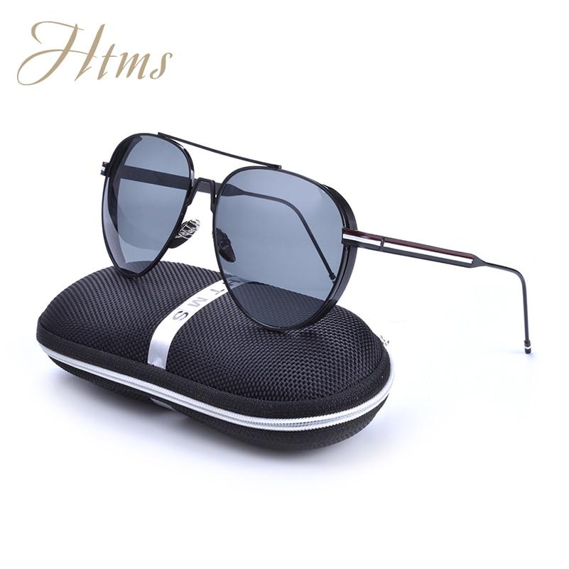 2017 HTMS Brand Design Sunglasses Aviation New Fashion Men and Women Metal Oval Sunglasses Golf De Sol Feminino