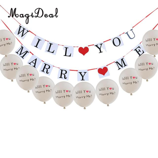Will You Marry Me Bunting Banner  10x Latex Balloon Set for - party proposal