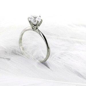Кольцо с бриллиантами для женщин, твердое кольцо из 14 к золота или серебра 1ct DF Moissanite Round Brilliant Cut 6,5 мм
