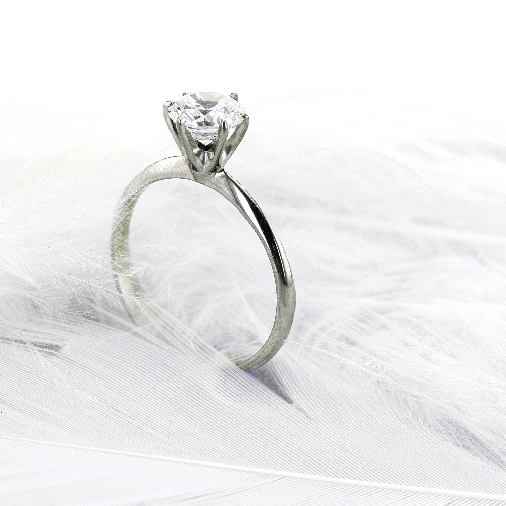 Solid 14k Gold Or Silver 1ct DF Moissanite Engagement Round Brilliant Cut 6.5mm Lab Grow Diamond Ring Promising Ring For Women