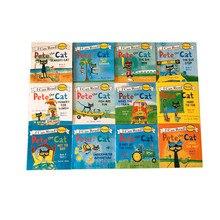 12 sztuk/zestaw mogę przeczytać pete the cat angielski książki z obrazkami książka przygodowa dla dzieci wczesna edukacja kieszonkowa książka do czytania 13x13 cm
