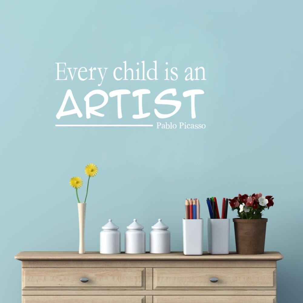 Jedes Kind Ist Ein Künstler Pablo Picasso Vinyl Zitate Wandaufkleber ...