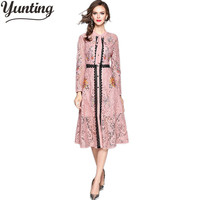 2018 Autumn Winter Dress Women National Trench Luxury Brand Runway Floral Print Long Sleeve Dresses Vintage