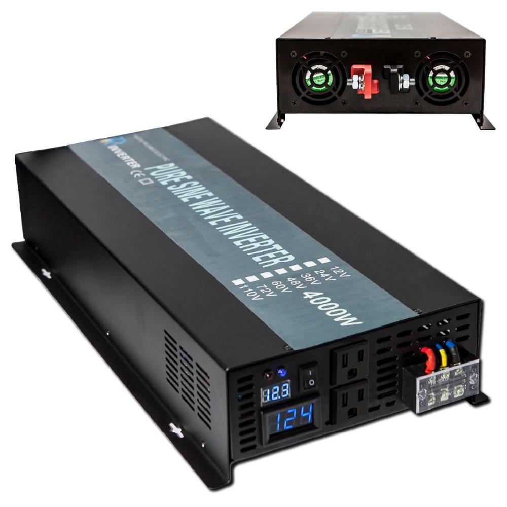 4000 watts hors réseau onde sinusoïdale Pure onduleur solaire 12 V/24 V DC à 120 V/240 V AC voiture onduleur générateur haute tension transformateur