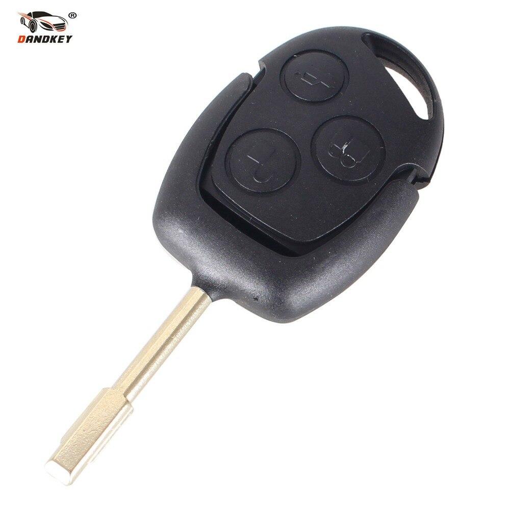 Prix pour DANDKEY Clé De Voiture 3 Bouton Télécommande Entrée Key 433 MHZ FOB pour Ford Mondeo Fiesta Point Ka Transit K2 Avec Logo