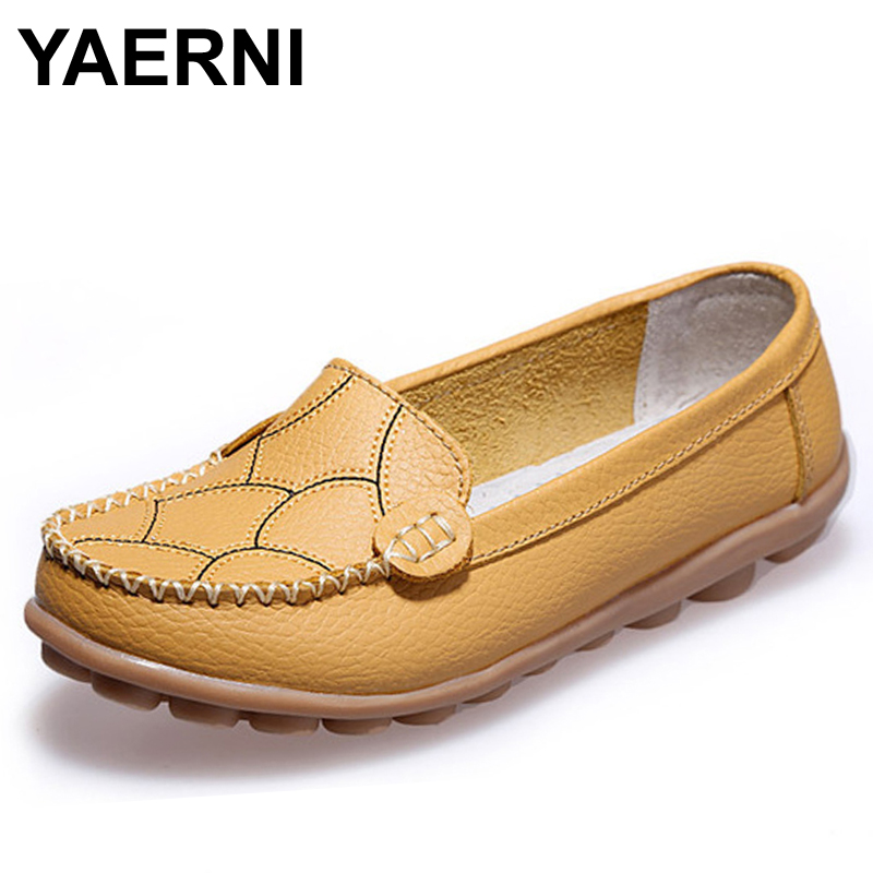 YAERNI Comfortable Women's Flats  Arrival Genuine Leather Shoes Women Loafers Summer Spring Boat Shoes Casual Moccasins BSN-603 cyabmoz 2017 flats new arrival brand casual shoes men genuine leather loafers shoes comfortable handmade moccasins shoes oxfords