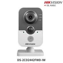 В наличии на складе Hikvision английский Мини Wi-Fi Камера DS-2CD2442FWD-IW 4MP ИК Куба ip Камера POE Встроенный микрофон день/ночь CCTV камера