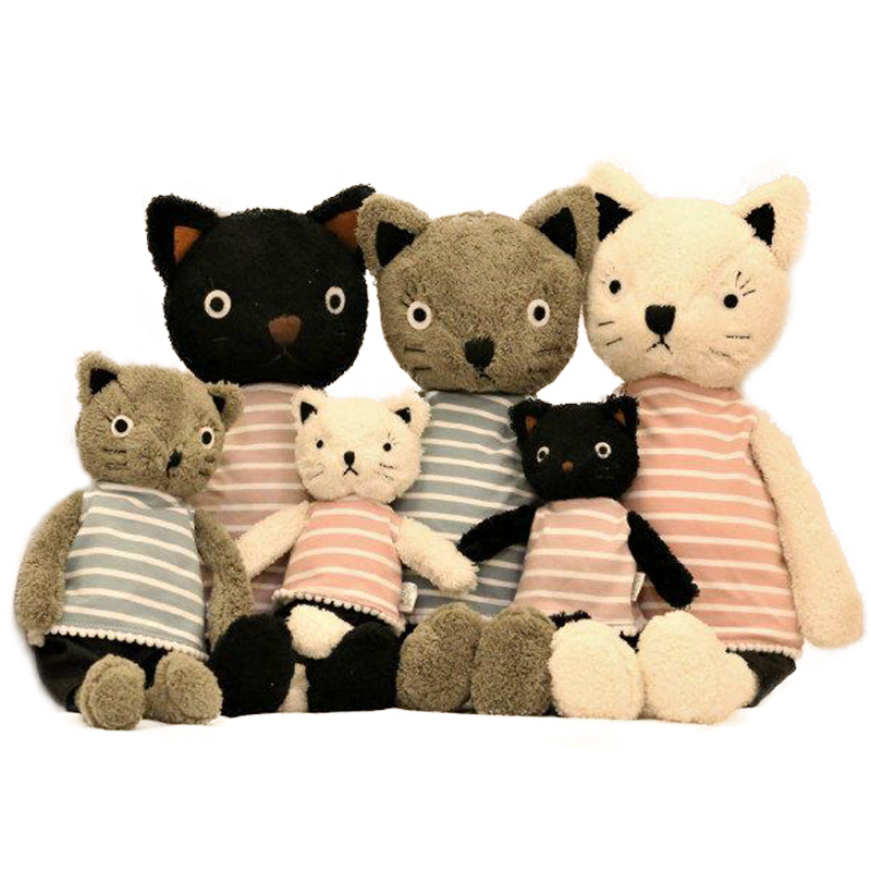 1pc 25cm/35cm/50cm Kawaii Cat Plush Dolls Stuffed Animals Soft Stripe Clothes Cats Plush Toys For Girls Children Birthday Gifts