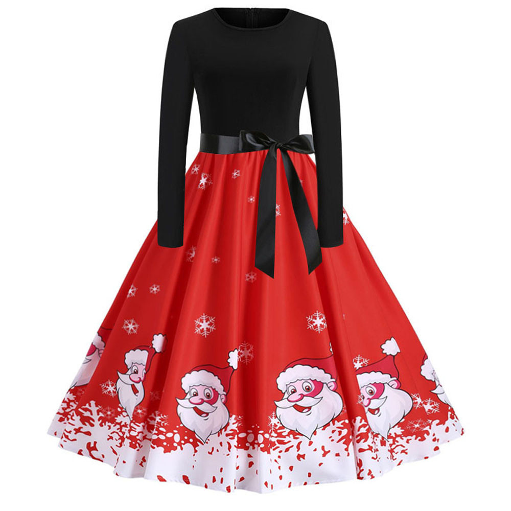 Evening Party Mini Dress Women Christmas Print Santa Claus Long Sleeve Dress