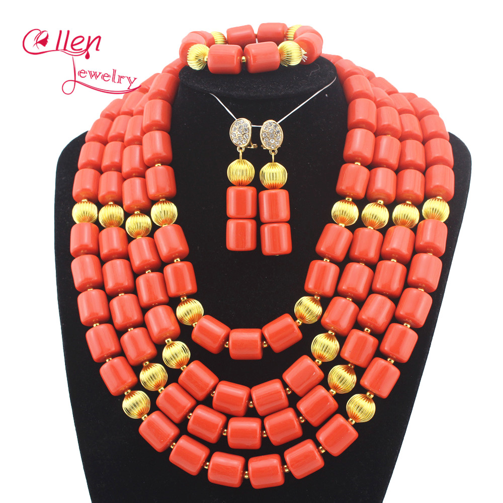 African Coral beads Jewelry Set Nigerian Beads Wedding Jewelry Sets for Bridal Statement necklace cheap E1116