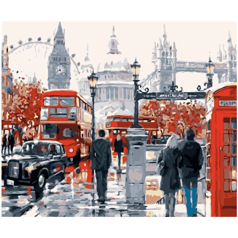 Busy London Street Hand Made Paint High Quality Canvas Beautiful Painting By Numbers Surprise Gift Great Accomplishment