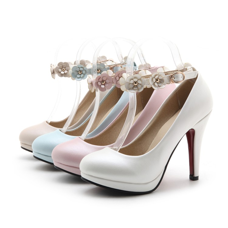 ФОТО 2017 New Shoes Womes A Buckle Round with A Fine Waterproof Pumps Sweet Princess Shoes Women's Single Shoes  Custom 33-42 Code