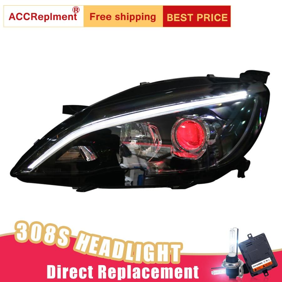 2Pcs LED Headlights For Peugeot 308S 408 2014 2018 led car lights Angel eyes xenon HID