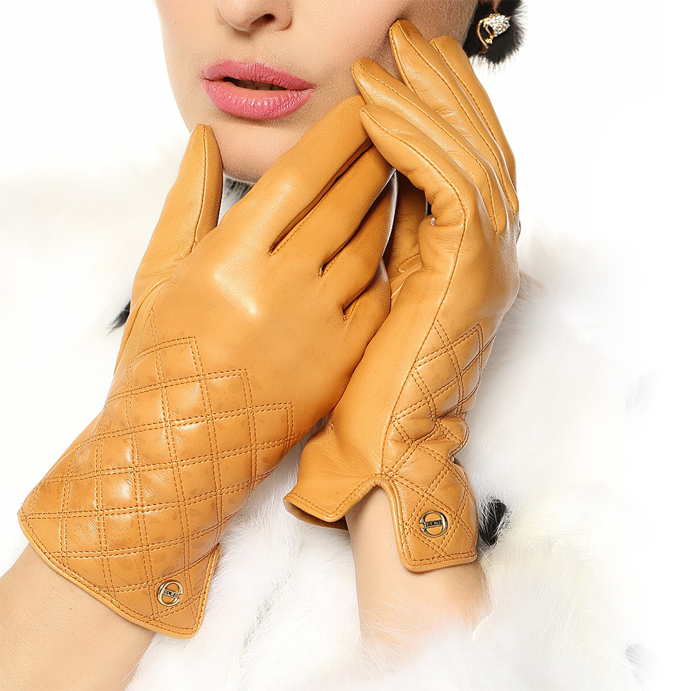 Driving gloves wholesale - European Version Of Women Genuine Leather Suede Gloves Mujer Winter Hand Warmer Plaid Party Red