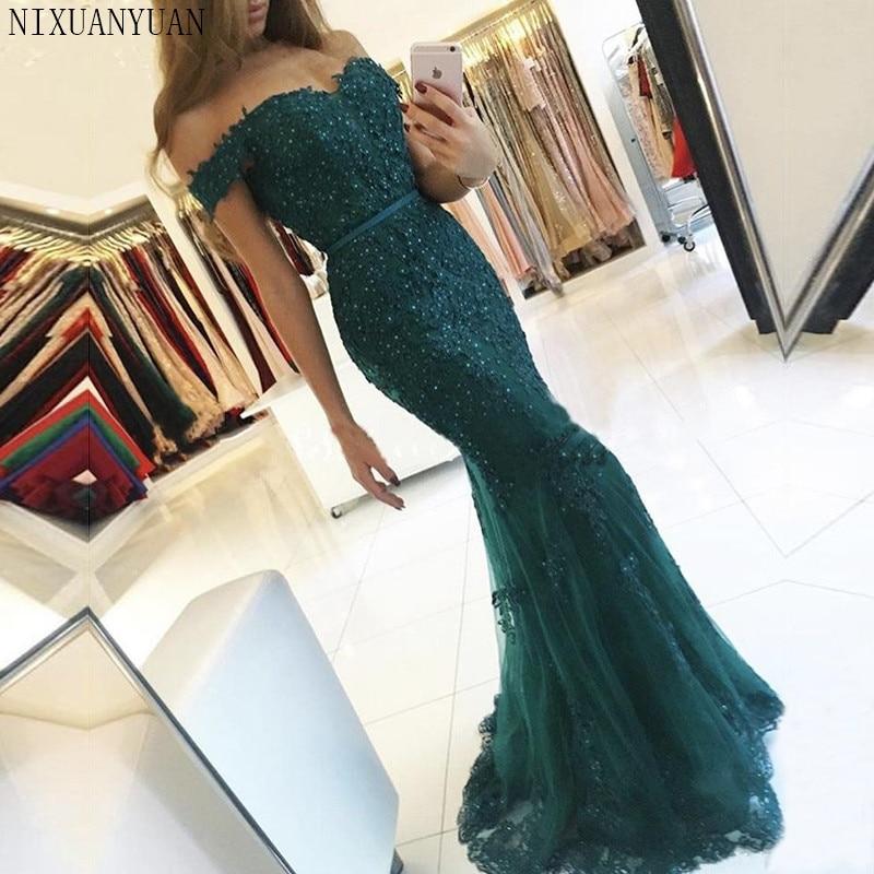 Women Elegant Off The Shoulder Long   Dress   Mermaid   Evening     Dress   2018 Lace Robe De Soiree Longue Formal   Dress