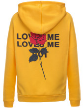 LOVE ME Letter Print Rose Hoodies Women Hooded Drop-Shoulder Long Sleeve Oversized Hoodie Autumn Women Hoodies Sweatshirts(China)