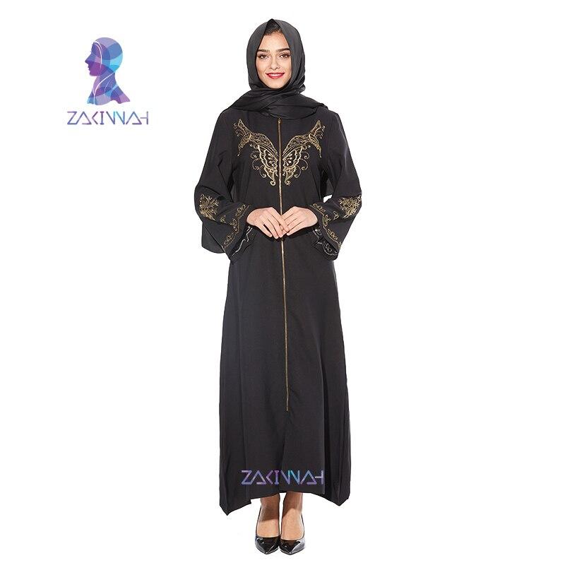 Elastic Muslim Abaya Dress Fashion Embroidery Muslim Dress Black