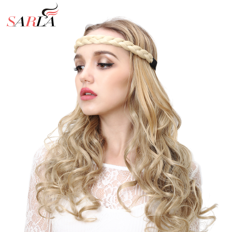 SARLA Braided Hair Twisted Headband Bohemian Straight Elastic Stretch Plait Hair Band Synthetic Hairpiece High Temperature H06