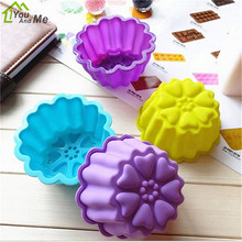 6 Pcs/lot Flower Shape Silicone Mold Hand Made DIY Soap Mold Cake Decorating Kitchen Baking Tools