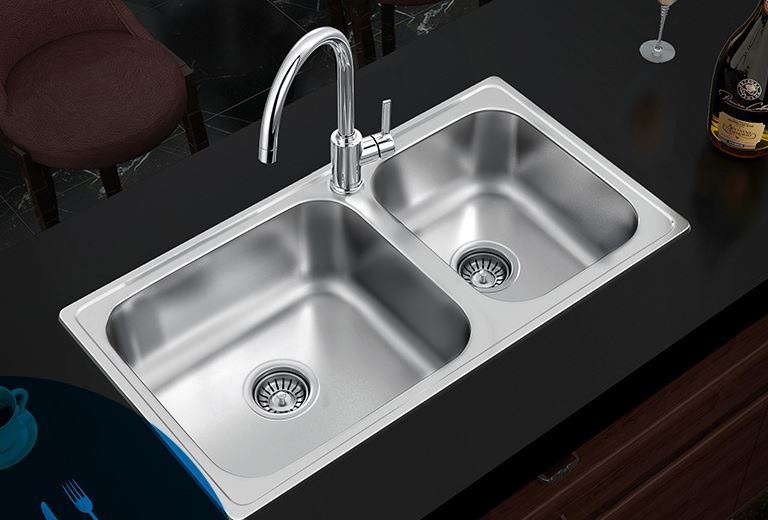 Trough Sink Kitchen #16: Free Shipping Sink Double Trough Kitchen Stainless Steel Washing Dishes Basin Faucet Package Susan 28104SLS Double